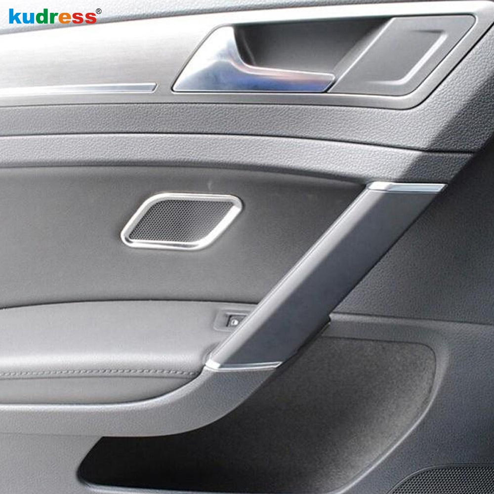 For Volkswagen For <font><b>VW</b></font> <font><b>Golf</b></font> <font><b>7</b></font> 2014 2015 5-door Stainless Steel Side Door Speaker Cover Ring Trim <font><b>Stickers</b></font> Interior Accessories image