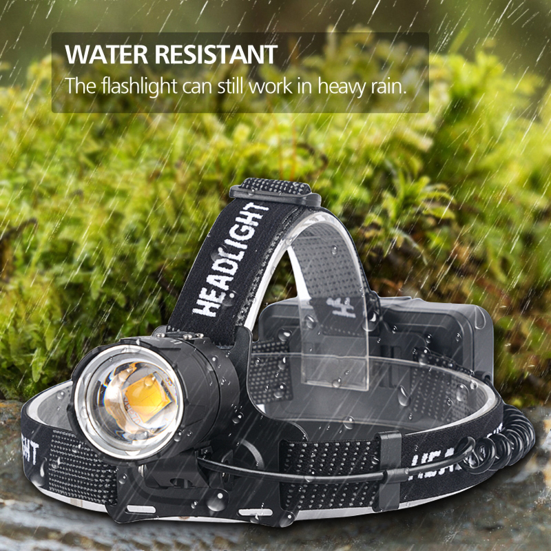 Yellow Light White Light Headlamp XHP70.2 Most Powerful Head-mounted Led Headlight Zoomable XHP70 Fishing Camping