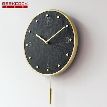 Luxury Silent Wall Clock Modern Design Simple Metal Living Room Wall Clock Pendulum Quartz Duvar Saati Decoracion Hogar ZB50WC