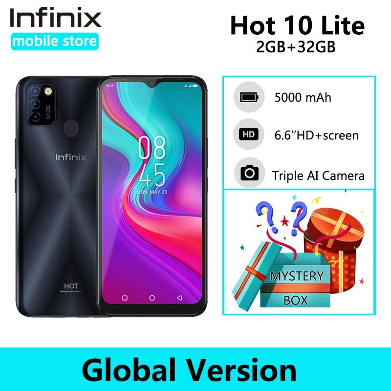 Infinix 10 lite quente versão global 2gb 32gb telefone inteligente 6.6 hd hd hd 1600*720p 5000mah bateria 13mp câmera helio a20