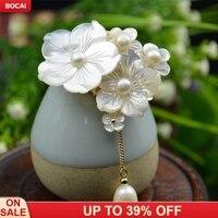 Natural shells engraving pearls high quality flowers tassels brooch pendants