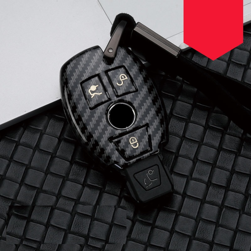 Glossy Carbon fiber ABS Car Key Case Fob Cover For Mercedes benz A B R G Class GLK GLA w204 W251 W463 W176 image