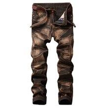 Mode trou droit détruit Moto jean marque mince décontracté déchiré jean Homme rétro hommes Denim pantalon de haute qualité coton