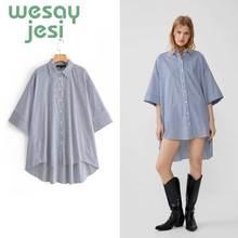 Summer Womens tops and blouses  Elegant turn-down collar blue striped long sleeve casual chic top female Vintage blouse