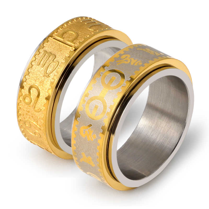 Classic Design Letters Men Ring Titanium Stainless Steel Rings Gold Color Couple Rings Men Jewelry Woman Accessory