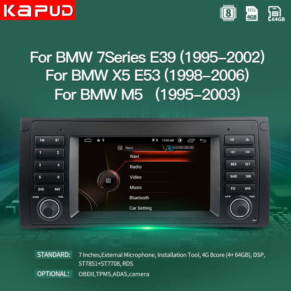 "Kapud Android 10.0 Car Multimedia Player 7"" Inch Navigation For BMW E39 E53 M5 1995 2003 Radio Stereo BT GPS Wifi DSP