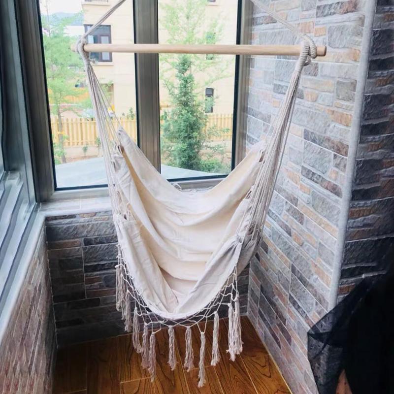 Bohemia Style Swing Tassels Hammock Cotton Rope Net Beige Tree Hanging Chair Portable Hook Hanging Seat Indoor Garden Hamaca