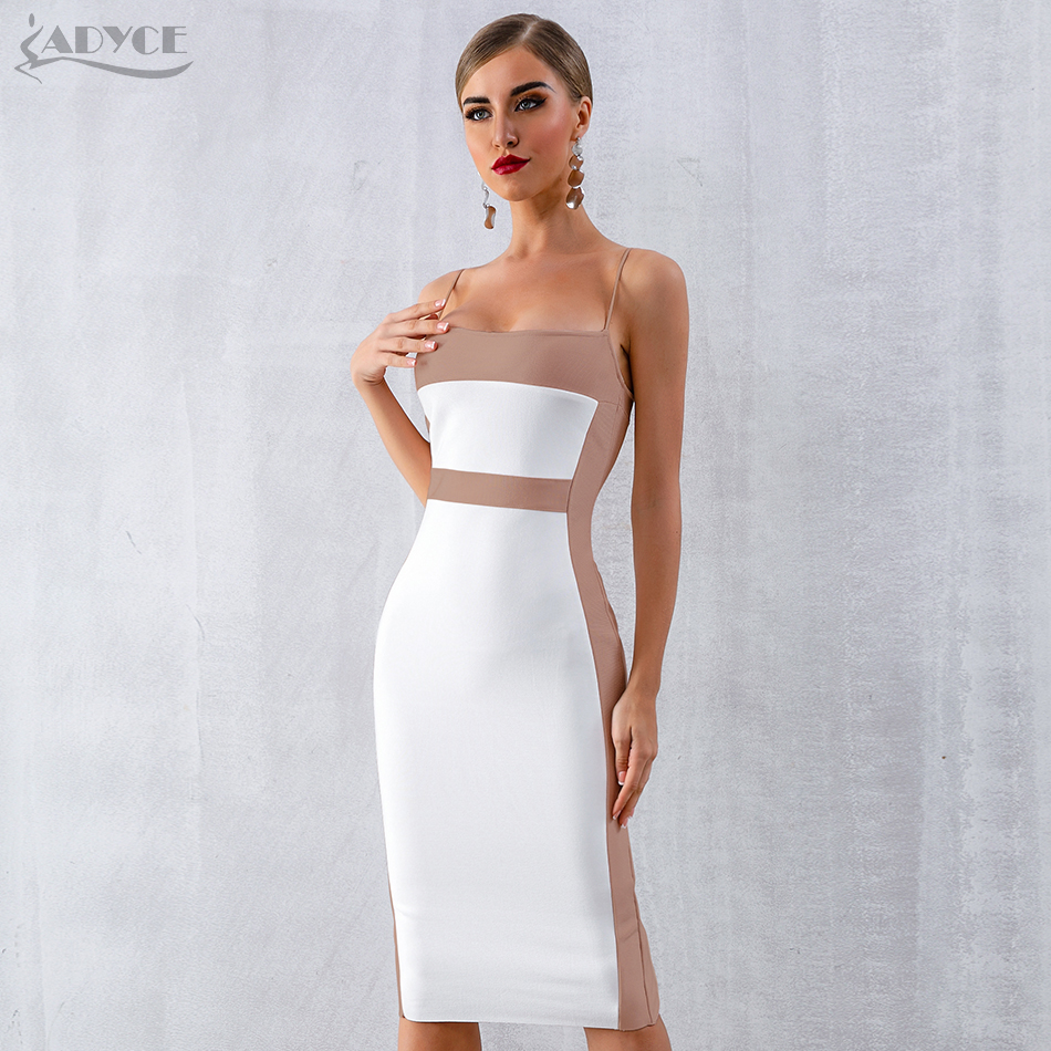 Adyce 2020 New Summer Bandage Dress Women Vestidos Sexy Bodycon Spaghetti Strap Sleeveless Midi Club Dress Celebrity Party Dress