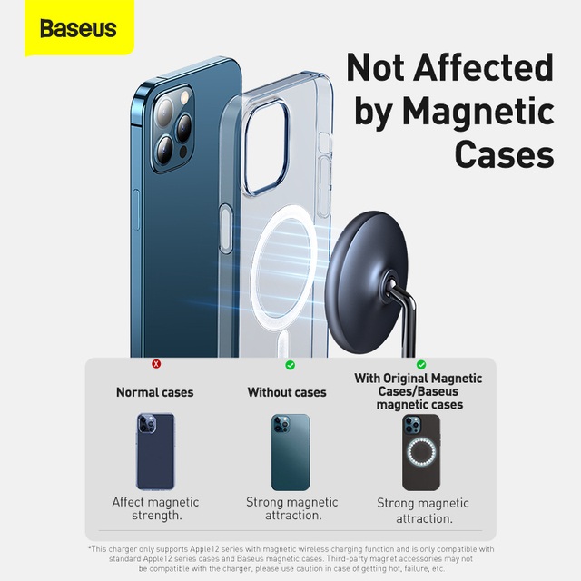 Baseus Magnetic Wireless Charger For iPhone 12 Pro Max Desktop Phone Stand Wireless Charger For Airpods Xiaomi Samsung 4