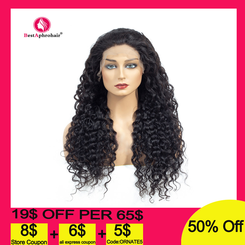 13*4 Glueless Water Wave Lace Front Human Hair Wigs With Baby Hair Brazilian Pre Plucked Remy Hair Wigs Natural Color 10-24inch