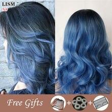 Peluca De Pelo rubio para Mujer, Pelo Natural azul, Lolita, cabello De longitud media, Cosplay