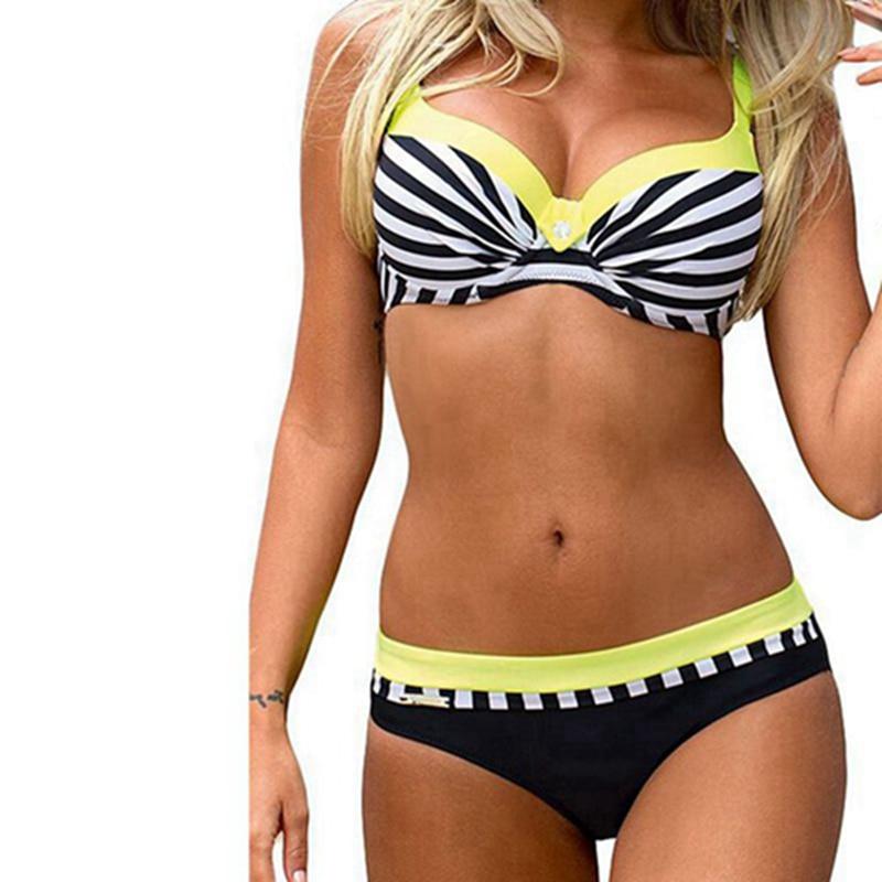 Siwmsuit Striped Bikini 2019 Plus Size Swimwear Women Retro Two Piece Swimsuit Tankini Push Up Bathing Suit Beach Wear Biquini in Bikinis Set from Sports Entertainment