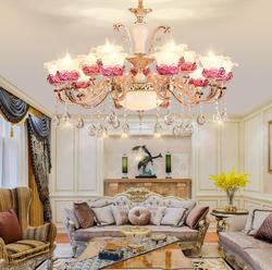 Europejski kryształowy żyrandol lampa do salonu świeca ze stopu cynku lampa kryształowa lampa fioletowa lampka do sypialni nowoczesna prostota
