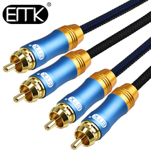 EMK 2 RCA to Audio Coaxial Cable Hifi Stereo Speaker 1m 2m 3m 5m Male Wire DVD TV Amplifier Mixer