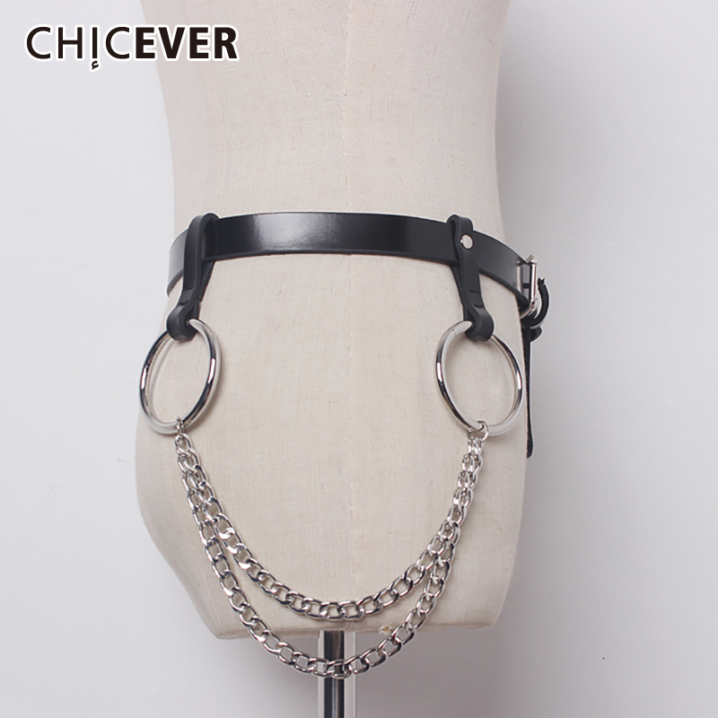 CHICEVER Patchwork Chain Women Belts Korean Fashion Tunic Black Pu Leather Clothing Accessories Belt Female 2020 New