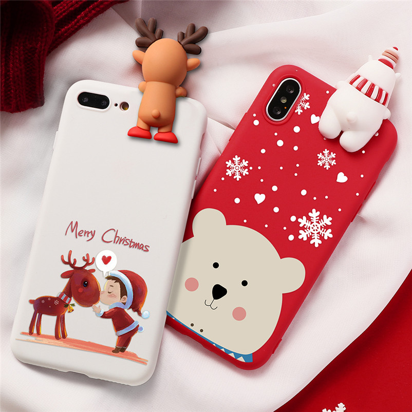 <font><b>3D</b></font> <font><b>Cartoon</b></font> Christmas Deer TPU Case For <font><b>iPhone</b></font> 7 XR 11 Pro XS Max Santa Claus <font><b>Funda</b></font> For <font><b>iPhone</b></font> 5 <font><b>5S</b></font> SE 6 6S 7 8 Plus X Back Cover image