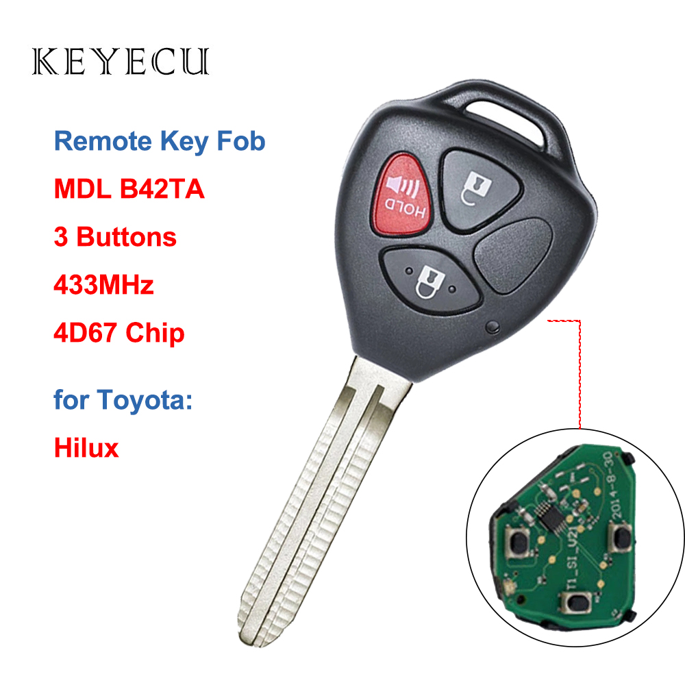 Keyecu Upgraded Folding Remote Key Fob for Toyota Corolla Venza 2009-2015 GQ4-29T with G Chip