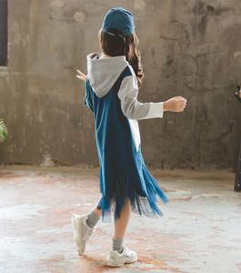 Image 2 - 여자 긴팔 후드 드레스 새로운 스타일 2019 가을 새로운 어린이 패치 워크 드레스 히트 컬러 메쉬 원사 프로 베이비 드레스, #8005