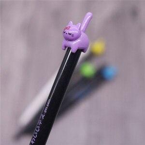 Image 3 - 36 шт., смешанные цвета, 0,5 мм, милый кот с поднятым хвостом, студенческие канцелярские принадлежности, гладкий гель для письма, ручка с индивидуальным животным