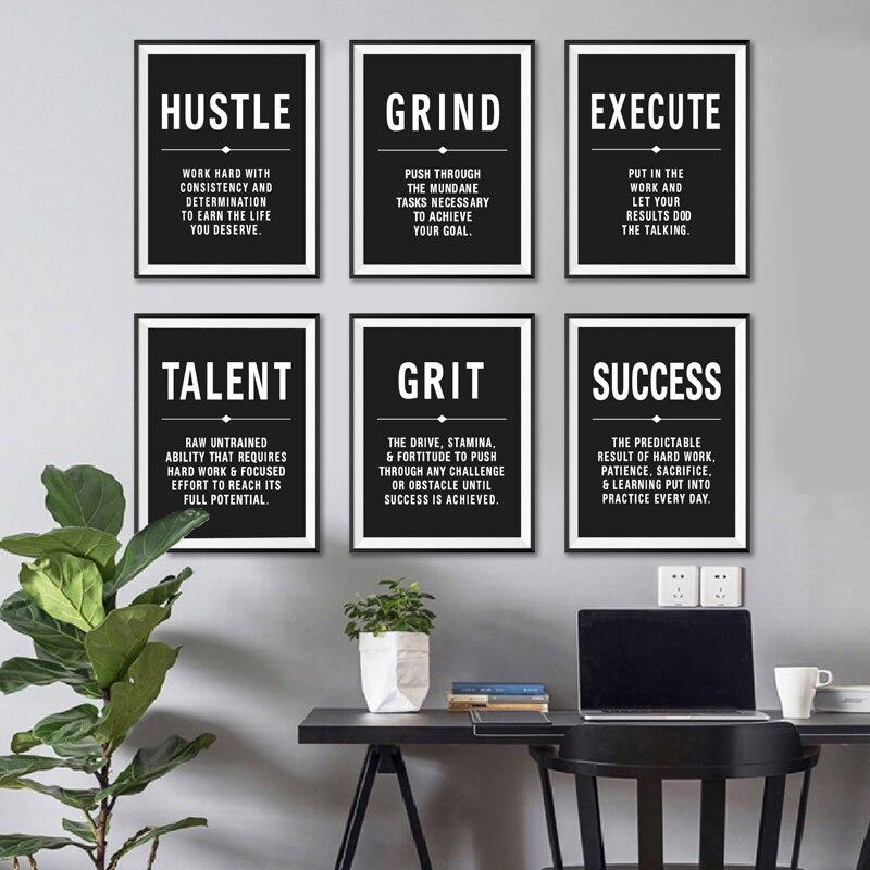 Escritório arte da parede pintura em tela hustle sucesso talento motivacional citações posters & prints minimalista motivacional fotos decoração