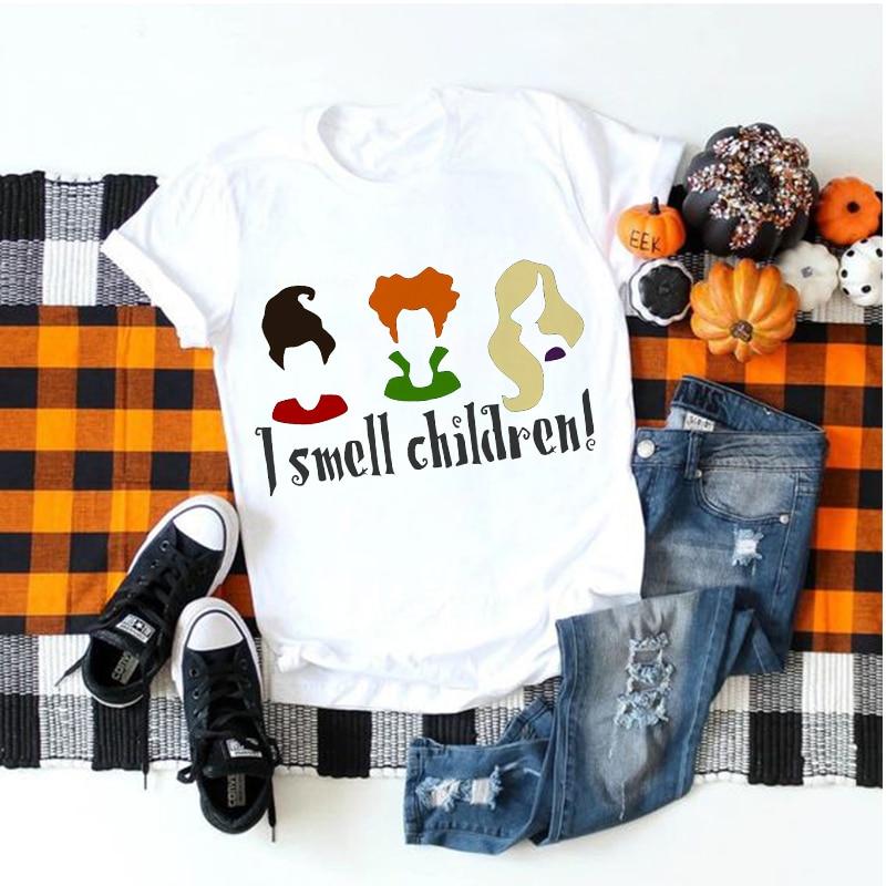 Showtly  Hocus Pocus Halloween Women T Shirt Gothic Horror Short Sleeve Vintage Ulzzang  I Smell Children Streetwear