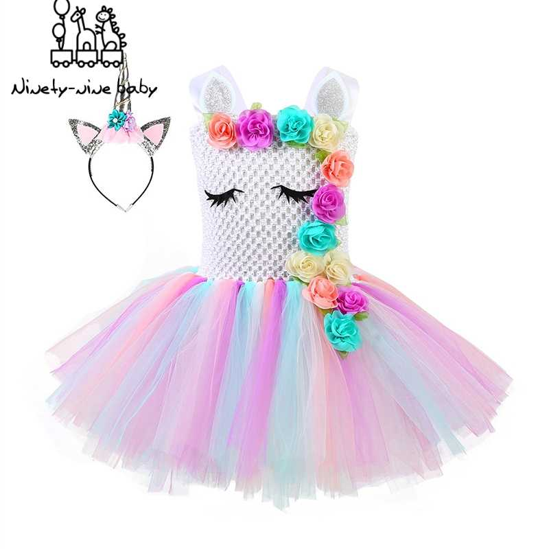 Unicorn Party Dress Kids Dresses For Girls Halloween Dress Children Girls Princess Dress Elsa Costume fantasia infantil vestido
