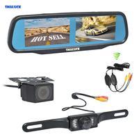 SMALUCK Wireless Dual 4.3 Screen Rearview Car Mirror Monitor + Waterproof Rear View Reverse Backup Car Camera