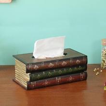 Estilo Retro libro forma de caja de pañuelos de papel creativo de madera titular de la Mesa decorativa servilletero de papel para el dormitorio sala de estar