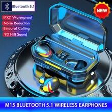 M15 TWS Wireless Headphones Bluetooth V5.1 Earphones 9D Stereo Bass gaming headset Waterproof Sport
