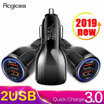 Car Charger Quick Charge 3.0 QC 3.0 Fast Charging Adapter Dual USB Car-Charger For iphone Micro USB Type C Cable Phone Chargers mobile phone chargers deppa 410204 quick fast accessories telecommunications usb for car