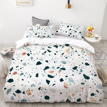 3D HD Digital Printing Custom Bedding Set,Duvet Cover Set Double Queen Cal King,Wedding Bedclothes Green Marble Drop Shipping(China)