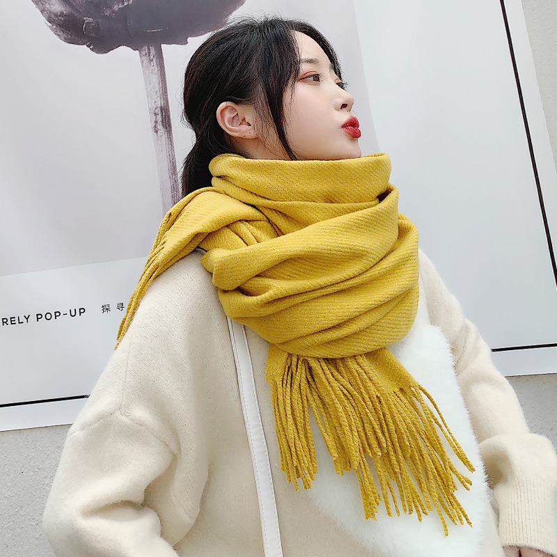 VISROVER new woman winter scarf fashion female shawls cashmere handfeeling winter wraps solid color winter hijab scarf wholesale