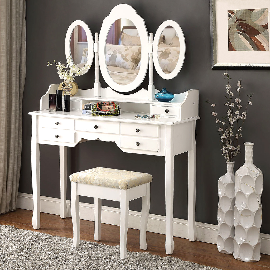 LANGRIA Makeup Dressing Table Vanity And Stool Set With 3 Adjustable Oval Mirrors 7 Drawers And Curved Solid Rubberwood Legs