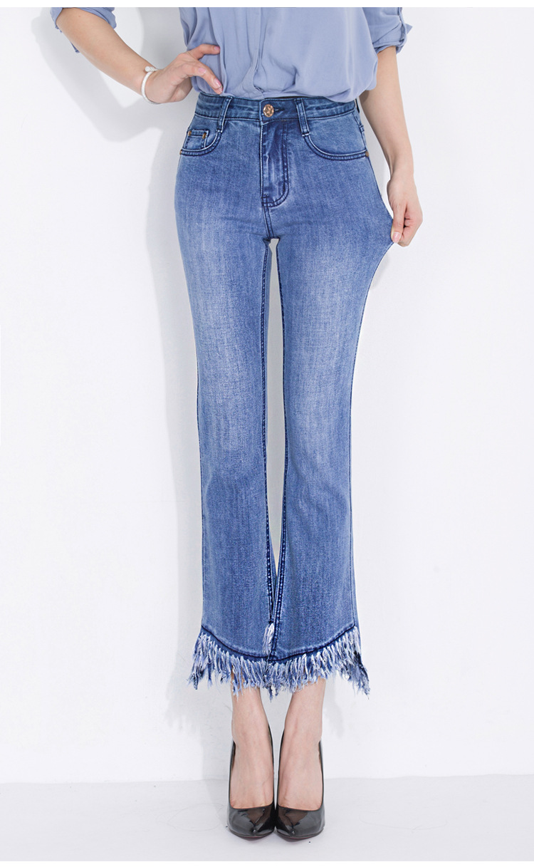 KSTUN FERZIGE jeans woman high waist jeans stretch blue spring and summer ankle length pants tassels flares women's clothing 14