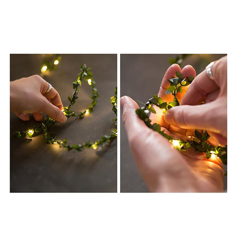 Green Leaf Lights LED Copper Fairy Wire String Light Twine Light Rustic Chrismas Wedding Holiday New Year Party Event Decoration