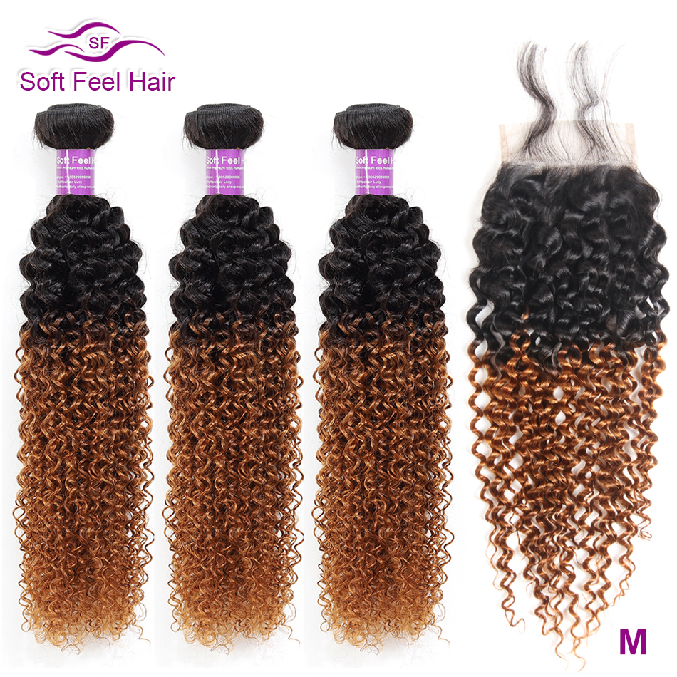 Soft Feel Hair Ombre Brazilian Kinky Curly Weave Human Hair 3/4 Bundles With Closure T1B/30 Ombre Bundles With Closure Remy Hair