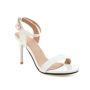 Image 2 - ZawsThia 2020 קיץ פטנט PU צהוב לבן 9cm דק עקבים גבוהים משאבות פיפ בוהן סקסי אישה חתונה נעלי סנדלי גודל גדול 33 50