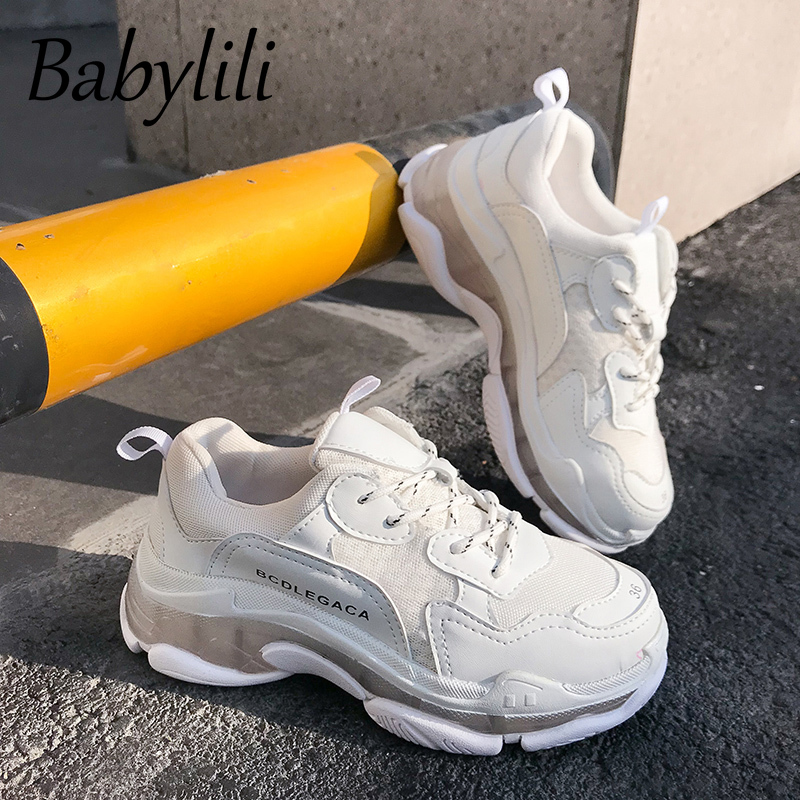 Chunky Women Sneakers Platform 2020 Fashion Mesh Casual Shoes Lady Jelly Dad Shoe Basket Femme Runway Shoes Yellow Solid Lace-up