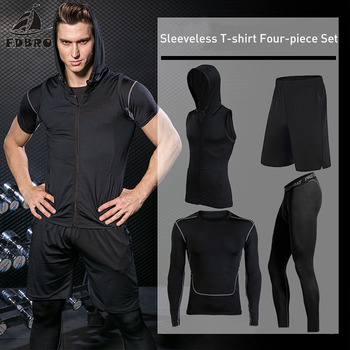 FDBRO Sports Men's Tights Compression Sportswear Suits training Clothes Suits workout jogging Sports clothing Tracksuit Dry Fit