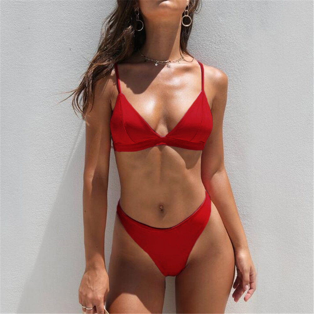 Women Solid Color Two Pieces Bikini Set Padded Push Up Bikini 2020 Mujer Swimwear Femme Swimsuit Maillot De Bain Femme Monokini