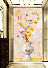 silk large mural wallpaper 3d Chinese embossed jade carving porch vase rich and precious jade carving porch aisleCustomized 5D free shipping european 3d relief murals aisle porch corridor classical style wallpaper rich tree rose vase mural