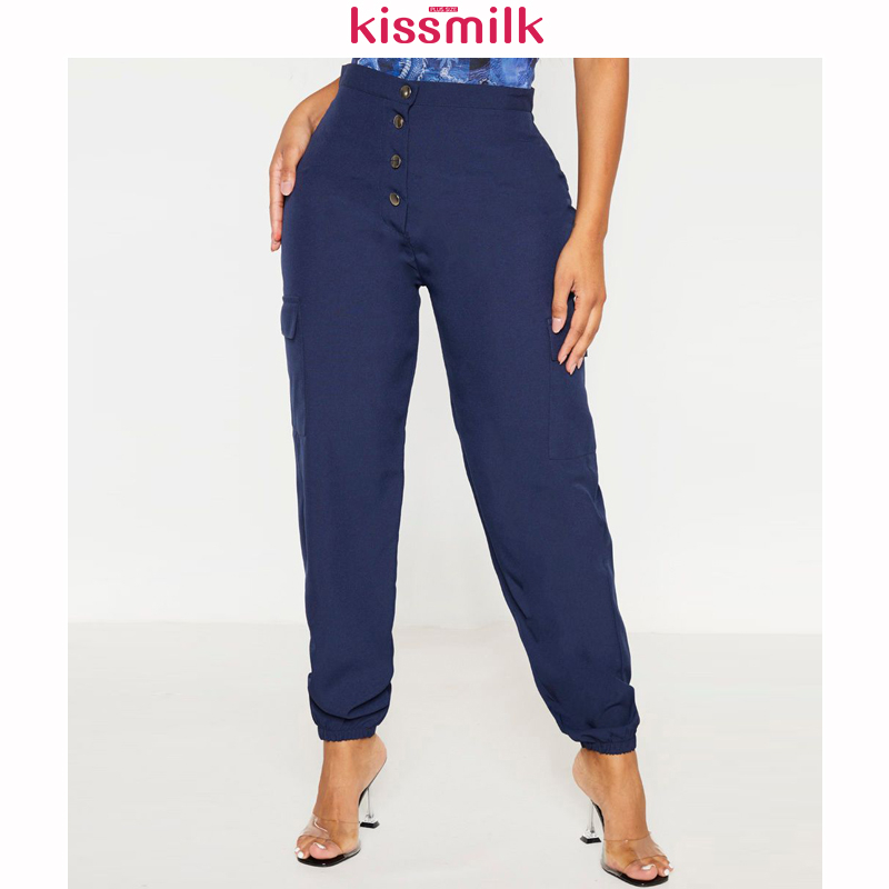 KISSMILK 2020 Spring And Summer New Fashion Women's Solid Color Large Size Slim Navy Pocket Overalls