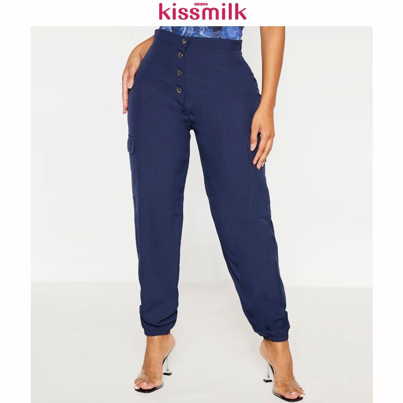 KISSMILK 2020 Spring And Summer New Fashion Women's Solid Color Large Size Slim Navy Pocket Overalls