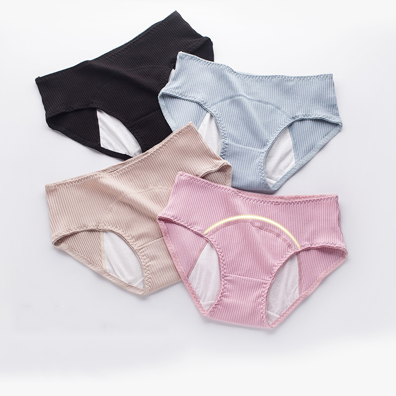 Women's Pure Cotton Physiological Briefs Menstruation Anti-side Leakage Comfortable Breathable High Waist Safety Health Panties