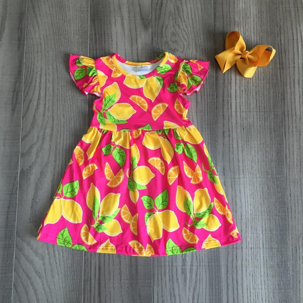 Baby Girls Summer Dress Children Girl Lemon Dress Milk Silk Dress With Bow