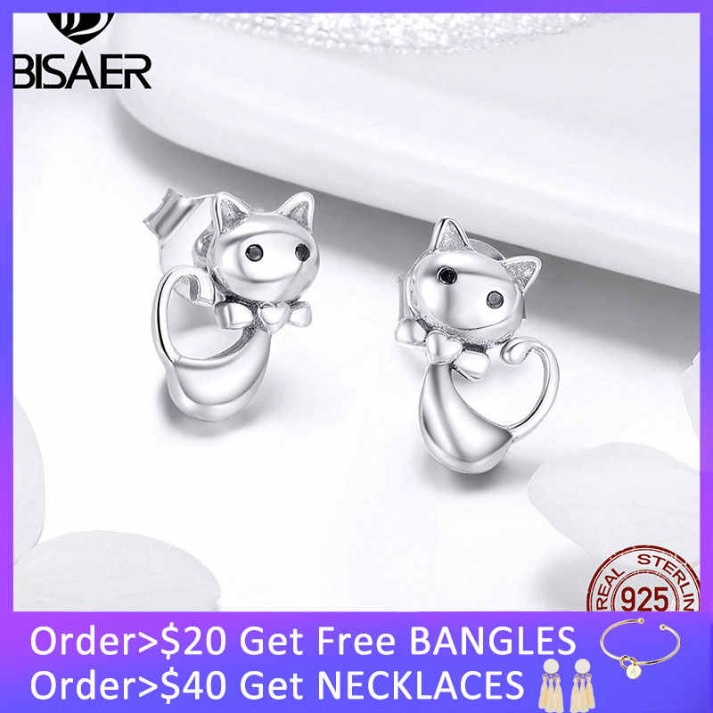 BISAER Cat Earrings 925 Sterling Silver Kitty Cat Animal Stud Earrings for Women Fashion Jewelry Girl Kid Gift Brincos HSE450