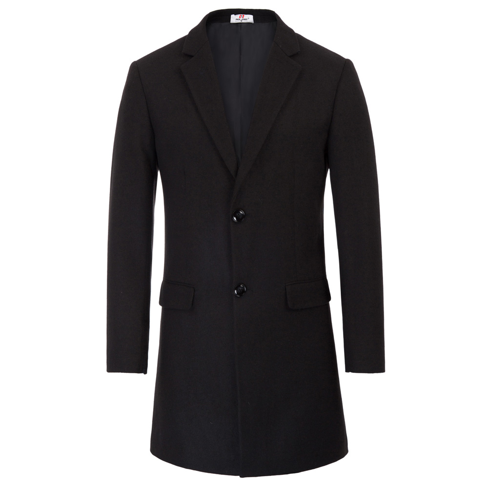 Men's Coat Wool Blends Classic Autumn Winter Single-Breasted Fashion Warm Stylish Solid