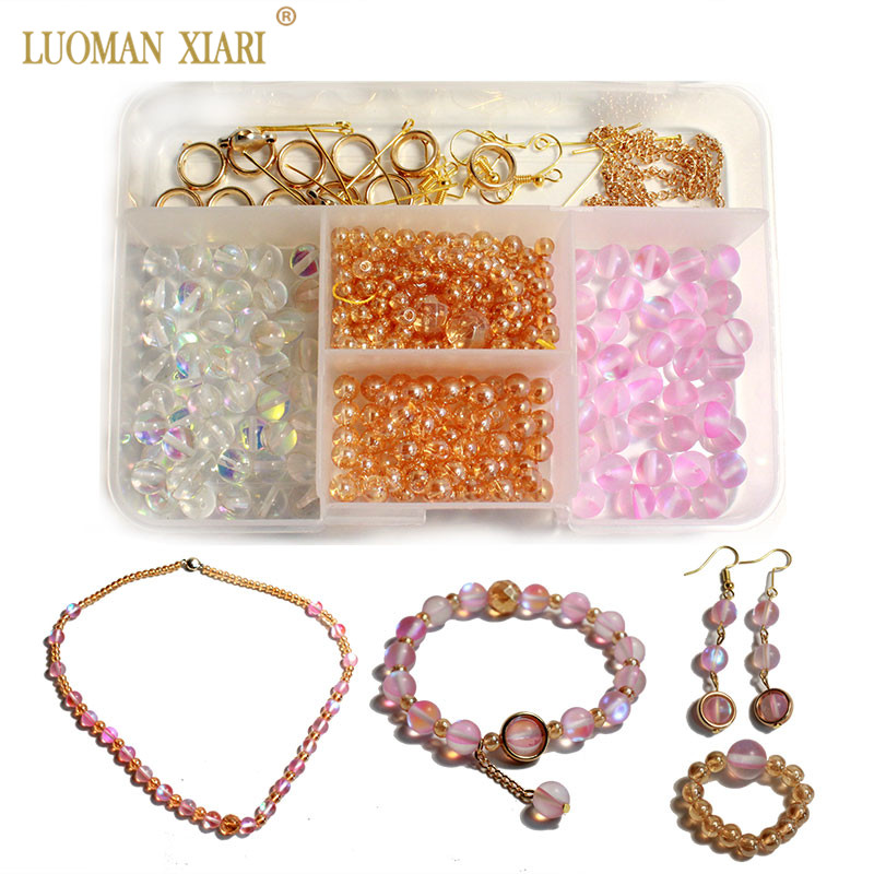381 PCS Beads Kits Round Crystal Beads Sets Jewelry Accessory Charms Elastic String Diy Necklace Earrings Handmake Craft Making