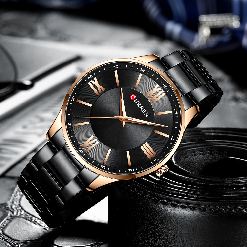 CURREN TOP Brand Mens Watches Casual Quartz Stainless Steel Wristwatch Simple Fashion Clock Male Brown Watch