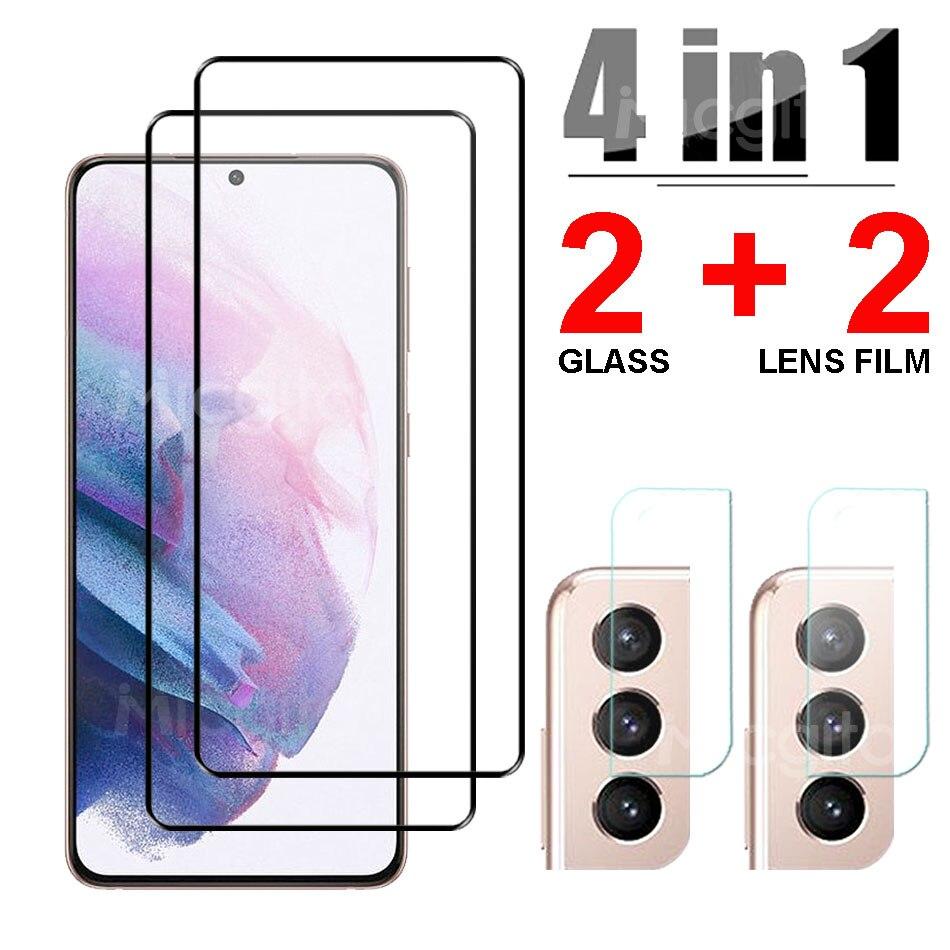 4 в 1 Закаленное стекло для Samsung Galaxy S21 Plus S21 Ultra, Защитная пленка для экрана объектива камеры Samsung S21 Plus стекло